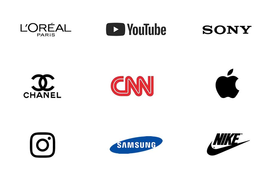 Exemplos de logotipos monocromáticos