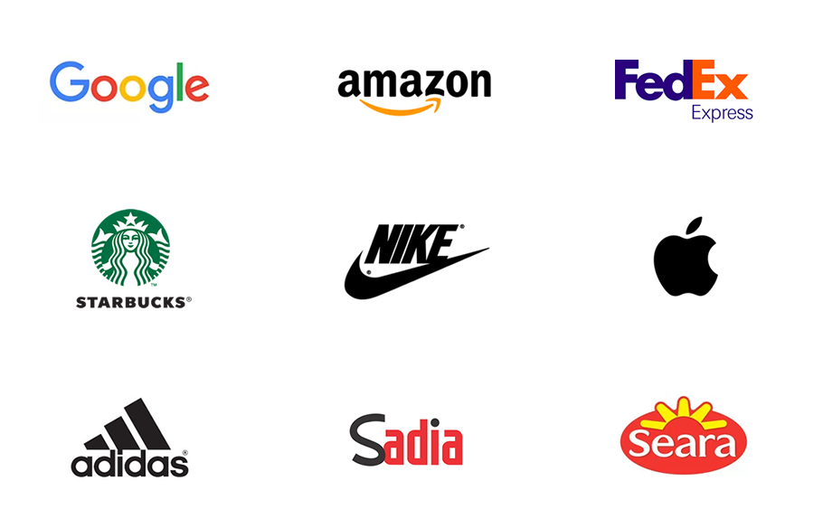 Exemplo de simplicidade de alguns logotipos de grandes marcas nacionais e internacionais